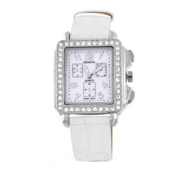 Deco Timepiece Fashion Watch - Geneva Rectangular Deco White Leather Strap Watch