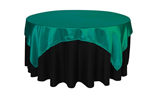 (Your Chair Covers - 72 inch Square Satin Table Overlay Teal, Square Satin Table Cloths )