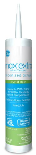 General Electric GE22608 Max Extra Siliconized Acrylic Caulk, 10.1-Ounce, Crystal Clear