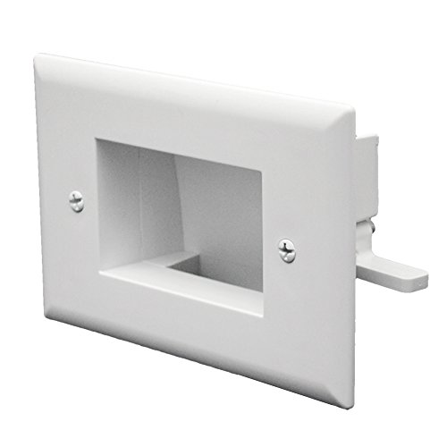 (DataComm Electronics 45-0009-WH Easy Mount Recessed Low Voltage Cable Plate Slim Fit -White)