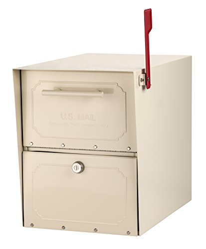 Architectural Mailboxes 6200S-10 Oasis Classic Locking Post Mount Mailbox, Sand