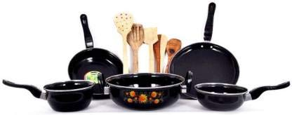 janvi Cookware Set of 5 Aluminium with 5 Wooden Karachi Induction Bottom Cookware Set (Aluminium, 10 – Piece)
