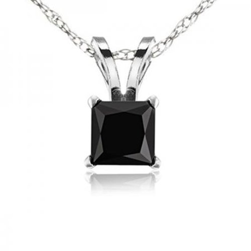 1.00 Carat (ctw) 10K White Gold Princess Cut Black Diamond Ladies Solitaire Pendant 1 CT by DazzlingRock Collection