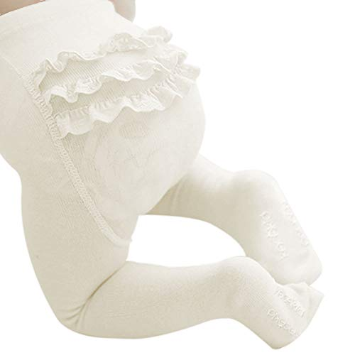 BBKidss Baby Toddler Girls Cute Knit Cotton Leggings Embroidery Ruffle Tight Pantyhose Footed Stocking Pants White