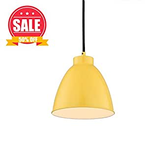 【SALE】Modern Hanging Light with Bright Lemon Yellow Finished Lampshade, LED Warm Pendant Light Fixture ,Suitable for Kingdergarden, Schoolroom,Kid's Room,Fashion Kitchen Light