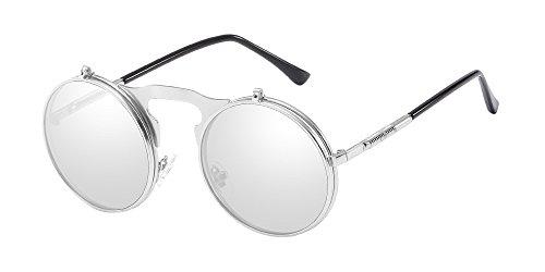 de BOZEVON Metal et Flip Steampunk Retro Circle up hommes blanc Style Lens soleil Argenté femmes Lunettes pour Round x4SwrxfqY