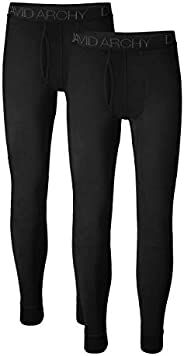DAVID ARCHY Men's 2 Pack Ultra Soft Winter Warm Base Layer Quick Dry Pants Thermal Bottoms Long Johns with