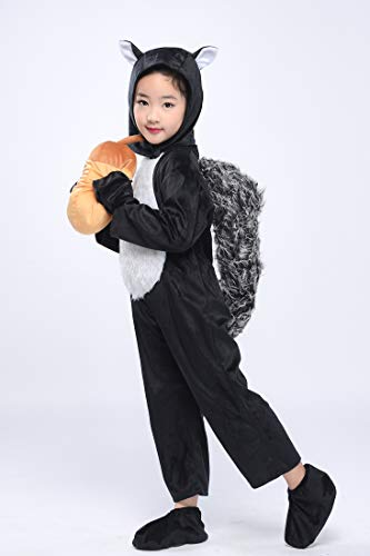 Kid Black Squirrel Costume Child Animal Jumpsuit Cosplay Fancy Dress Halloween Outfit (Squirrel, L) ()