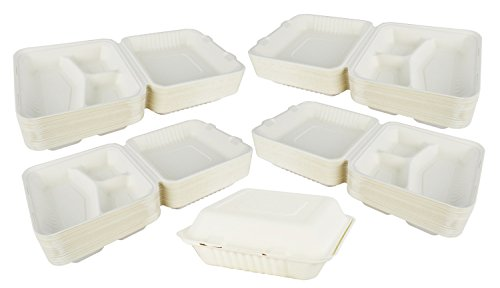 - Green Earth 9-inch, 200-Count, 3-Compartment, Compostable Clamshell, Natural Bagasse (Sugarcane Fiber), Take-Out/to-Go Food Boxes - Biodegradable Containers, Hinged Lid - Microwave-Safe - Gluten-Free
