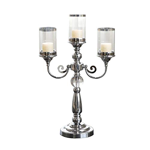 Gfbyq Metal Candelabras ,European Retro Zinc Alloy Style Candlestick 3 Arms Candle Stand Holder Candlelight Dinner Gift Decoration Silver