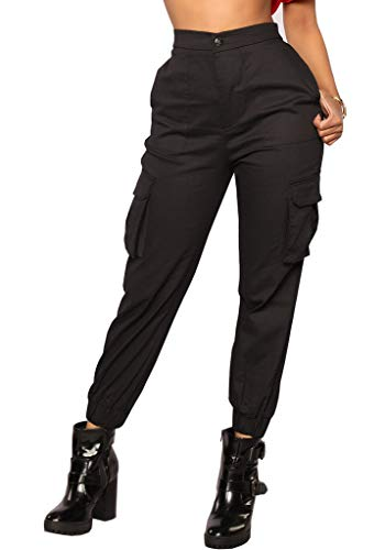Nulibenna Womens High Waist Cargo Pants Slim Fit Casual Jogger Trousers with Pockets Black