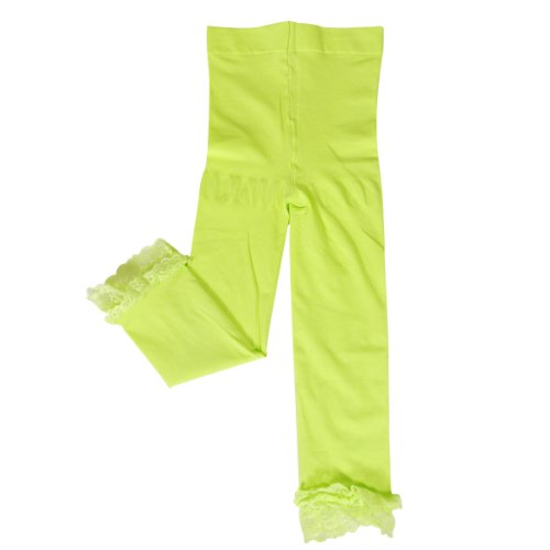 Wrapables Toddler Stretch Leggings with Lace Trim - Lime Green