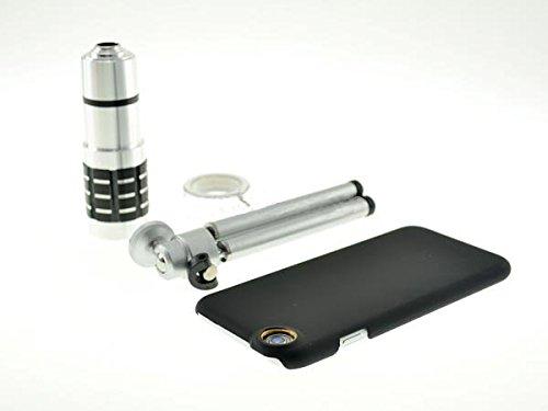 System-S 12x Teleskop Teleobjektiv Zoom Linse mit Hartschale Case Hülle und Mini Tripod Stativ Halterung für iPhone 6 Plus
