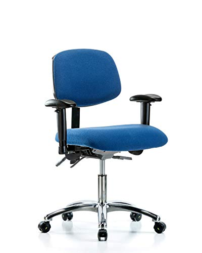 LabTech Seating LT40988 ESD Fabric Desk Height Chair Chrome Base, Tilt, Arms, ESD Casters Blue