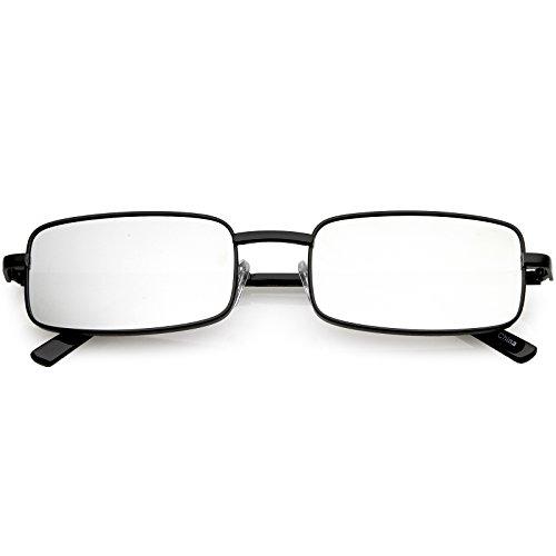 sunglassLA - Classic Small Metal Rectangle Sunglasses Color Mirrored Flat Lens 54mm (Black/Silver Mirror) ()
