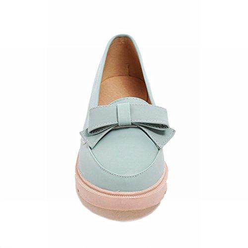 Draagarm Elegantie Dames Bogen Zoet Manchet Chic Barbie Lolita Stijl Lage Hak Loafers Schoenen Blauw