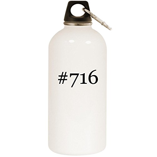#716 - White Hashtag 20oz Stainless Steel Water Bottle with Carabiner ()