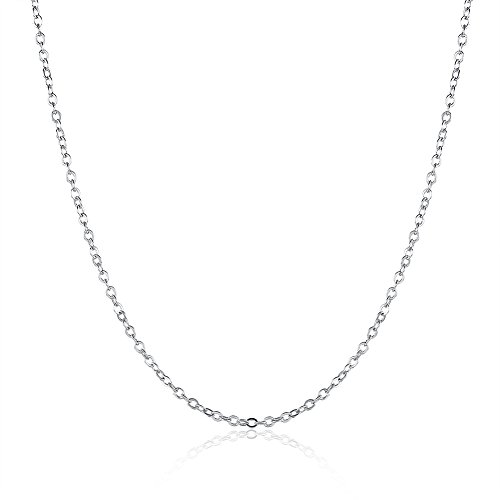 (Huangiao 18K Gold/White Gold/Rose Gold Plated Rolo Chain Necklace Charms Link Necklace 1.5MM (White))