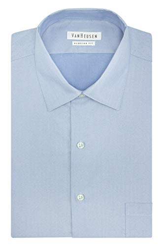 (Van Heusen Men's Herringbone Regular Fit Solid Spread Collar Dress Shirt, Blue Cloud, 16