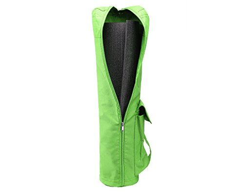 Yes4All Yoga Mat Bag with Full Zip Pocket, 27 inch Long and Extra Wide Fit most Mat Sizes, Adjustable Shoulder Strap, Easy Access Pockets - Green - 16cm diameter - ² TE4NZ