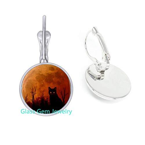cat Halloween Logo Dangle Earrings Earrings Handmade Resin Charming Earrings Jewelry Gift for Women Womans Dress Accessories and Men Gift,Q0297 (Y1)