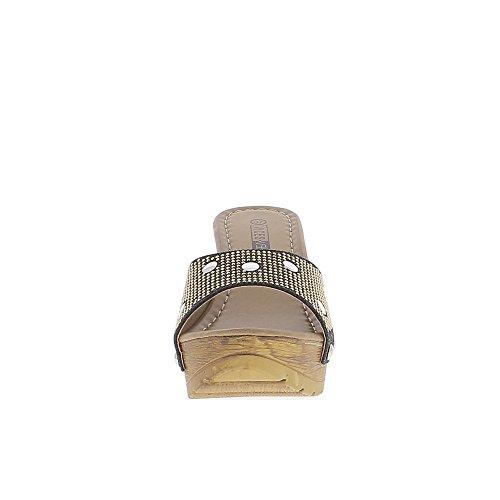Compensata zoccoli nero 10cm tacco e plateau borchie glitter