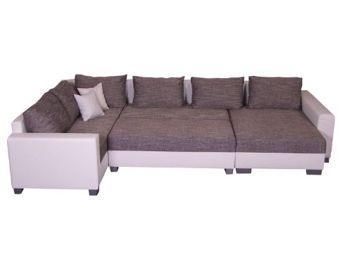 Ledercouch weiß höffner  Wohnlandschaft Olga inkl. Hocker - U Form Sofa: Amazon.de: Küche ...