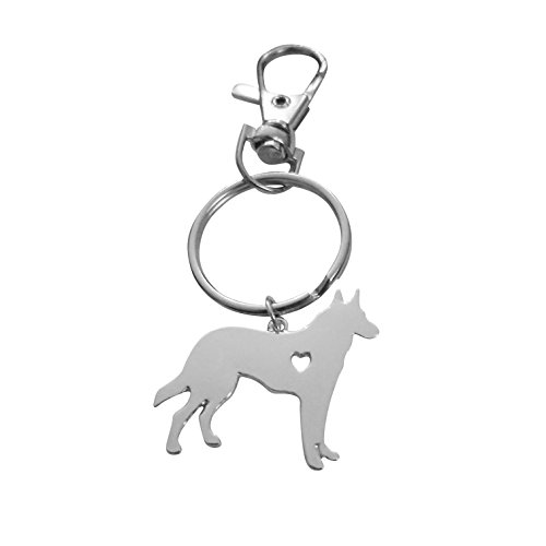 Art Attack Silvertone I Love My Dog Lover Heart Outline German Shepherd Pet Puppy Rescue Pendant ()