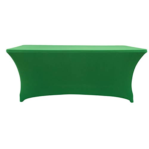 (Rectangular Stretch Spandex Table Cover Fitted Tablecloth for Wedding Party Events (8ft, Green))