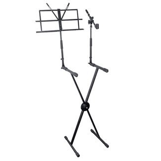 Portable Folding Piano Keyboard Stand - Black Ergonomic Universal Digital Studio Piano Rack Support, Electric Organ Standing Holder w/ Music Note and Microphone Holder, Adjustable Height - Pyle PKS30