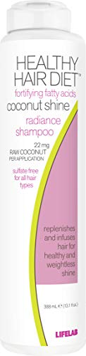 Lifelab Coconut Shine Shampoo Healthy Hair Diet Daily Detox Sulfate Free for All Hair Types, 13.1 Fl Oz (Best Drugstore Shampoo For Shiny Hair)