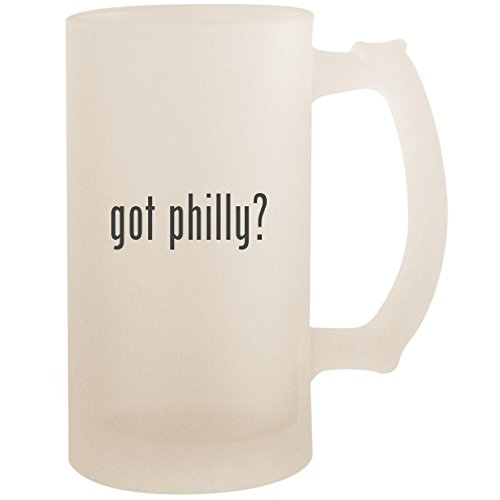 (got philly? - 16oz Glass Frosted Beer Stein Mug, Frosted)
