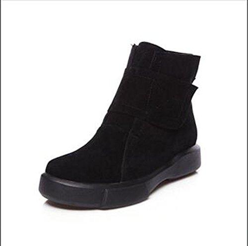 ZQ@QXOtoño e Invierno de cabeza redonda con una base plana, versátil y minimalista estudiantes cilindro corto botas botas hembra Black