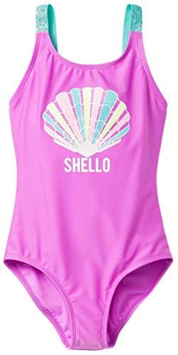 - Cat & Jack Girls' Sea Shell Fun One Piece Swimsuit (Purple, Small (6/6X))