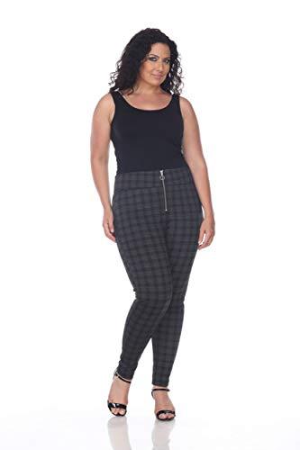 0c31abd153a48 Blue Sunset Women s Plus Size Grey Plaid Zipper Fly Ponte Pant Full Length  Leggings