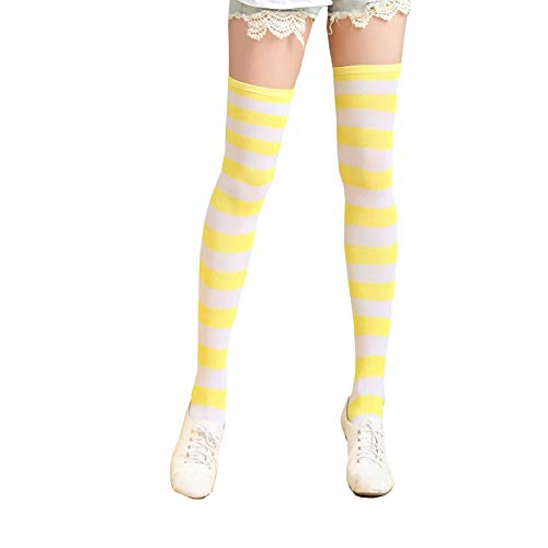 Women's Nylon Striped Stockings,Kawaii's brightly colored stockings (Yellow, Free Size)