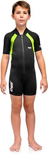 (Cressi Kids Swimsuit Short Sleeve, Black/Lime, Short Sleeves, S)