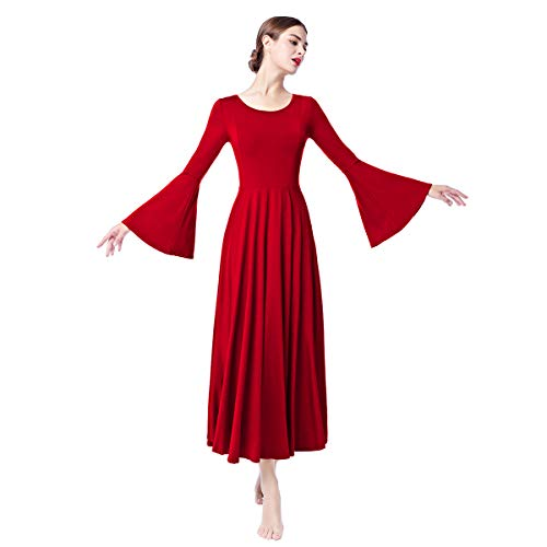 Women Adult Liturgical Praise Lyrical Dance Dress Worship Costume Praisewear Loose Fit Full Length Asymmetrical Bell Long Sleeve Church Circle Skirt Ballet Tunic Swing Evening Gown Red-Bell Large