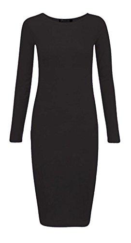 Bodycon Maxi Dress Ladies lunghe Stretch 3XL Islander Fashions Dress a maniche Womens Plain Midi Jersey S Nero 77vOAF