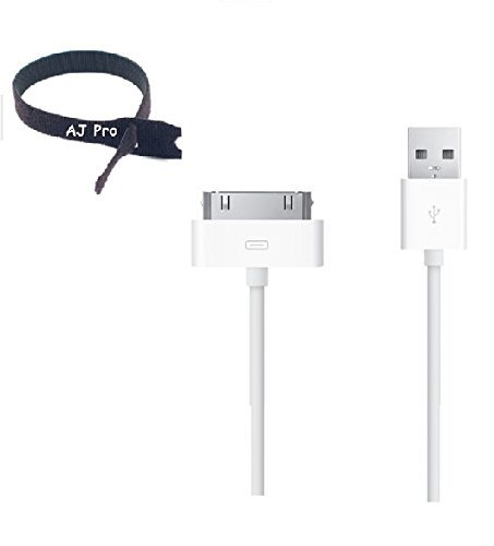 Extra Long (10ft) White 30 pin USB Power Cord and Charge Sync Cable with 8 velco tie for iPhone 4, 4S, iPod, Ipad 1,2,3 AJ Pro (TM)