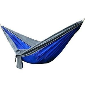 Camping Hammock: (Blue) Lightweight, Water Resistant, Nylon, Double Camping Hammock with Tree Ropes and Carabineers Included- Great for Outdoor or Indoor Use-Camping, Hiking, Backpacking, and Travel