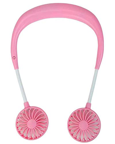 USB Charge Mini Sport Fan,Portable Neckband Lazy Neck Hanging Style Dual Cooling Fan with 3 Wind Speed for Indoor Outdoor (Pink)