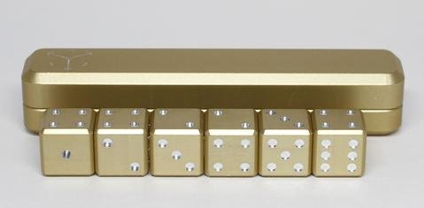 OFFICIAL GRAVITY DICE - 6 DICE SET - 6 Aluminum D6 Metal Gaming Dice with Aluminum Case and Carry Bag - World's Most Precise Gaming Dice (Gold) by Gravity Dice