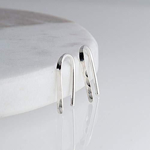 (Sterling Silver Flattened Line Arc Minimalist Line Earrings Horseshoe Wishbone Earrings, SS-FT-D13-18GA-Arc-Fl. Hammered)