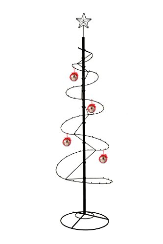 (HOHIYA Ornament Display Tree Stand Metal Christmas Halloween Wire Hook Hanger Dog Cat Bauble Ball Glass 84inch(Black))