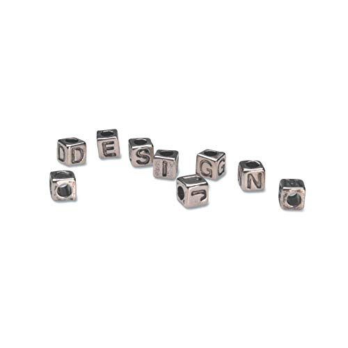 Darice Bulk Buy DIY Alphabet Beads Vertical Hole Cube Silver with Black Letters 6mm (3-Pack) 1943-53