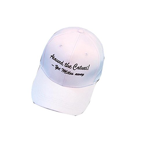 KESEELY Unisex Adjustable Hats, Embroidery Letter Snapback Hip Hop Flat Hat Cotton Ball Hat (White A) - Letters Only Ball Cap