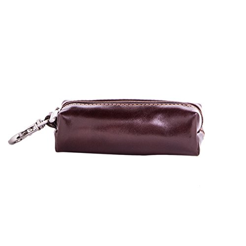 Tony Perotti Italian Bull Leather Top Zippered Key Holder Case, Brown