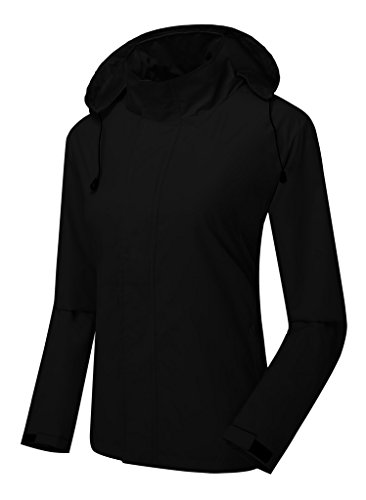 ZSHOW Women's Water and Sand Repellent Lightweight Quick Dry Skin Jacket(Black,Large)