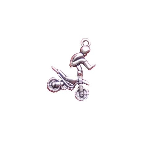 Pendant Jewelry Making for Bracelets and Chains 2 BMX Motorcycle Charms Antique Silver Tone Motocross Dirtbike - SC927